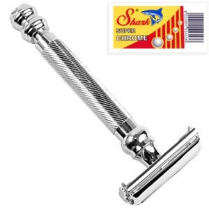 Parker 99R – Long Handle SUPER HEAVYWEIGHT Butterfly Open Double Edge Safety Razor & 5 Shark Super Chrome Blades cinELOT