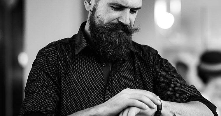 Bearded Man Looking At Time