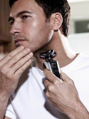 A man is shaving
