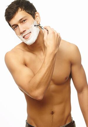 Wet shaving man